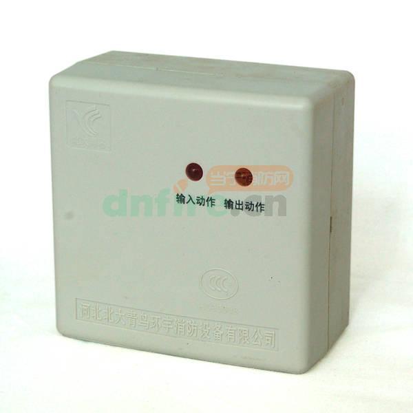 JBF-141F-N输入输出模块采用明装方式,步骤如下: 1、在安装位置将模块盒固定(使用M4螺钉),安装孔距为65mm; 2、探测总线采用2×1.0-1.5mm2导线; 3、将总线L1、L2端接在端子上,接线无极性; 4、可输出一组常开触点或一组常闭触点; 5、使用专用的编码写入器来设定地址码(1-200); 6、输出模块具有信号反馈输入端,当受控设备动作后被控设备上的常开触点(无源)闭合,由输出模块通过两总线将动作应答信号传送回控制器。 接线图例: JBF-141F-N输入输出模块控制强切