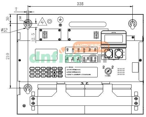 GST-QKP01 外观示意图如图  GST-QKP01采用壁挂式安装,安装尺寸如图所示。用3个M6的膨胀螺栓将其固定在牢固的墙壁上。  GST-QKP01 外接端子如图  其中: L、N、PE:交流220V接线端子。 CAN-L、CAN-H:与火灾报警控制器(联动型)相连的通讯总线端子。 R1、R2:喷洒指示输出端子,常开触点,压力开关动作时闭合。 F1、F2:故障输出端子,常开触点,有故障时闭合。 S+、S-:声光驱动输出端子,接非编码声光警报器;有火警动作时启动输出DC24V信号。 Z1、Z2:总线