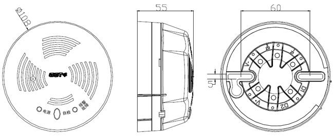 GST-BT001M探测器及底座示意图