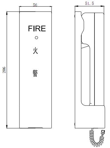 GST-TS-100A型消防电话分机外形结构图