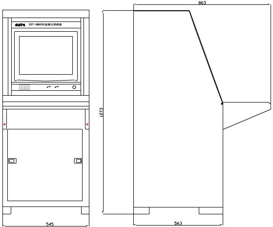 """1、系统安装及接线   图形显示装置由硬件和GST-GM9000消防控制室罔形显示软件组成。装置通过CRT显示器显示监控图像、并可以实时显示火警信息及发生火警的区域。图形显示装置由单节琴台柜加PC土机和17""""CRT显示器组成,显不器安装在单节琴台上部,由专用的而板和托板固定,PC主机安装在下部结构图如下图1所示,具体的内部连接线如图2所示。  图1 PC主机安装在下部结构图  图2 内部连接线图   指示灯说明如下   电源灯:绿色,此灯亮表示图形显示装置装置土机已丌机。土机关闭后,此灯熄"""