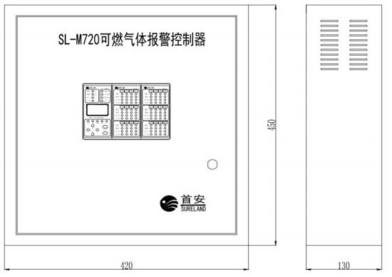 SL-M720可燃气体报警控制器外形尺寸图