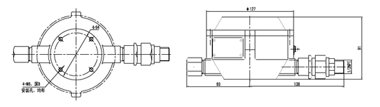 JTGB-HW-SL-D603点型红 外火焰探测器外形及安装尺寸图