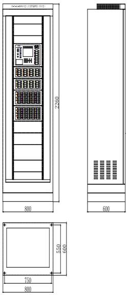 JB-TG-SL-M6000/G柜式火灾报警控制器单机尺寸图