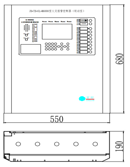JB-TB-SL-M6000壁挂式火灾报警控制器外形尺寸图