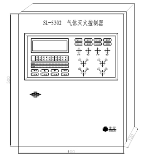 SL-5302气体灭火控制器外形与结构尺寸图