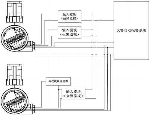 a715/uvir2点型红外紫外复合火焰探测器接线示意图