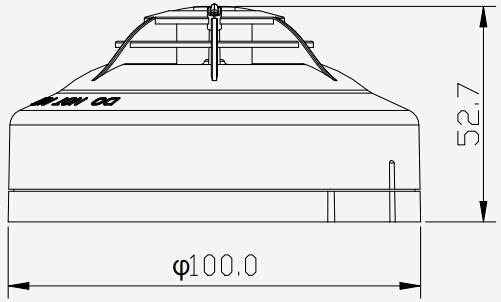 泰和安JTW-ZDM-TX3110A点型温感外形尺寸示意图