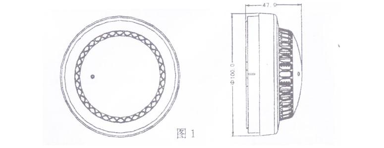 JTY-GF-FS1028点型光感烟火灾探测器外形示意图