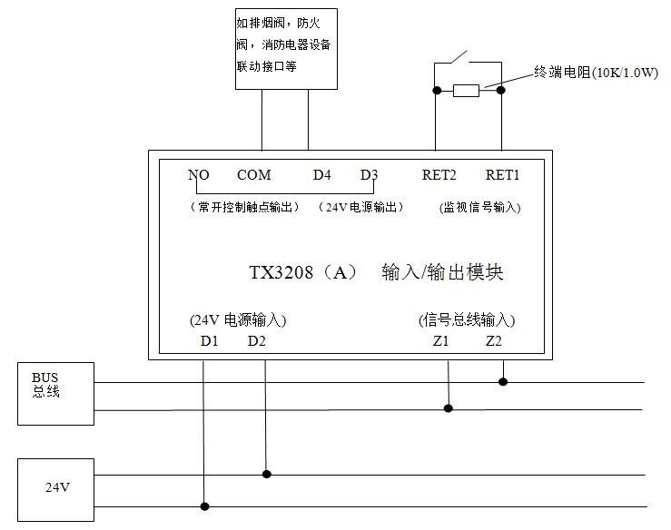 """可利用公司生产的手持编码器TX3932进行现场编码(地址码范围必须是1~242,同一回路地址码唯一)   功能选择:   1、""""连动""""和""""点动""""功能可以用TX3932进行设置,设置为""""连动""""时,有输出信号后输出继电器一直  保持闭合直到输出信号停止。设置为""""点动"""",输出信号时,常开接点闭合时间为2±0."""