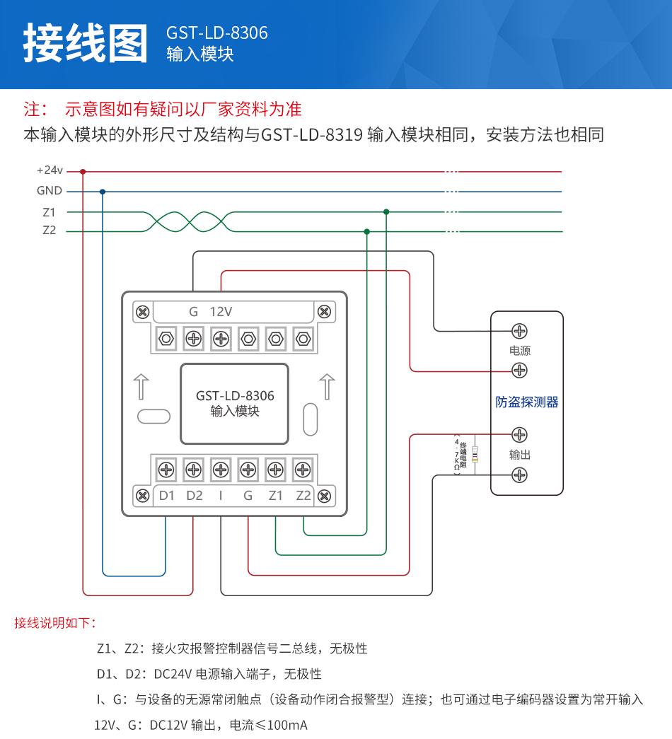 本输入模块的外形尺寸及结构与GST-LD-8319输入模块相同,安装方法也相同,输入的对外端子示意图如下图:    其中:   Z1、Z2:接火灾报警控制器信号二总线,无极性   D1、D2:DC24V电源输入端子,无极性   I、G:与设备的无源常闭触点(设备动作闭合报警型)连接;也可通过电子编码器设置为常开输入   12V、G:DC12V输出,电流≤100mA   布线要求:信号线Z1、Z2采用阻燃RVS双绞线,截面积≥1.