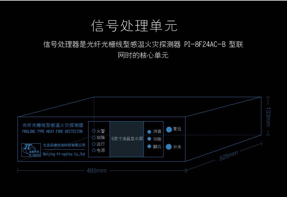 FI-FBGB3线型光纤光栅感温火灾探测器信号处理单元