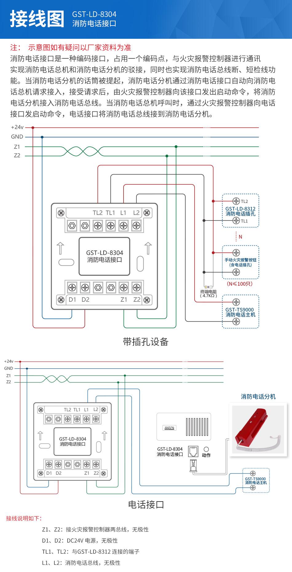 GST-LD-8304消防电话模块接线