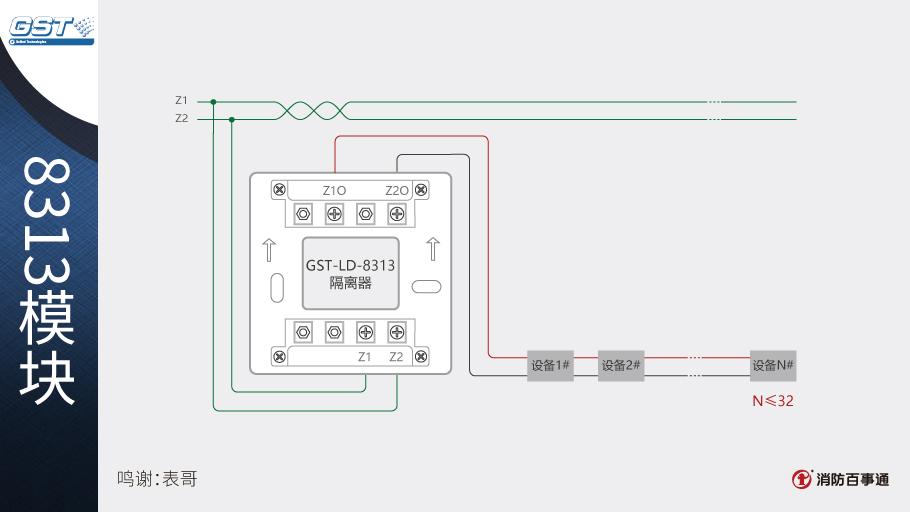 1,gst-ld-8313隔离器一般安装在总线的分支处,可直接串联在总线上.