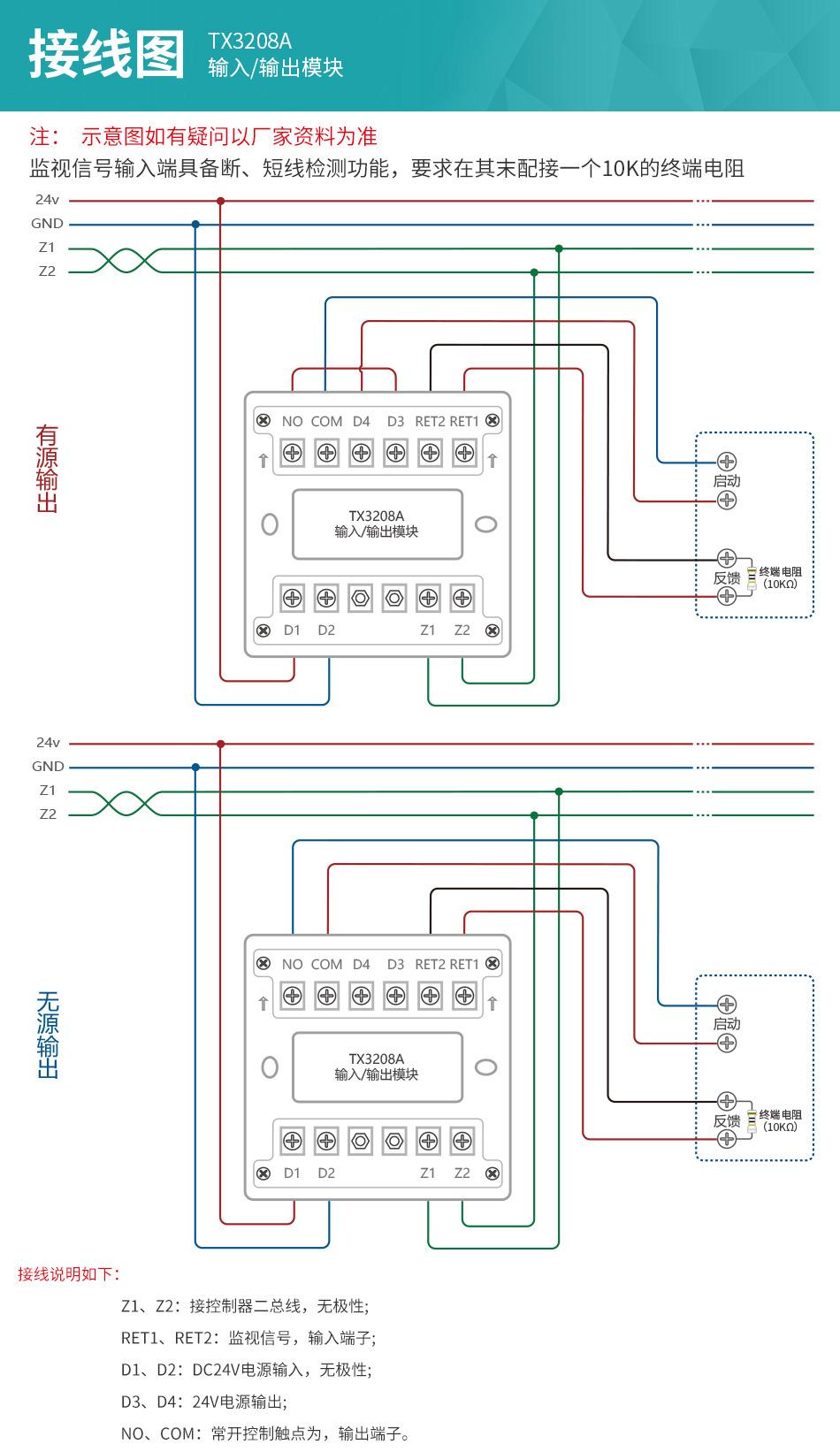 TX3208A输入输出模块安装接线