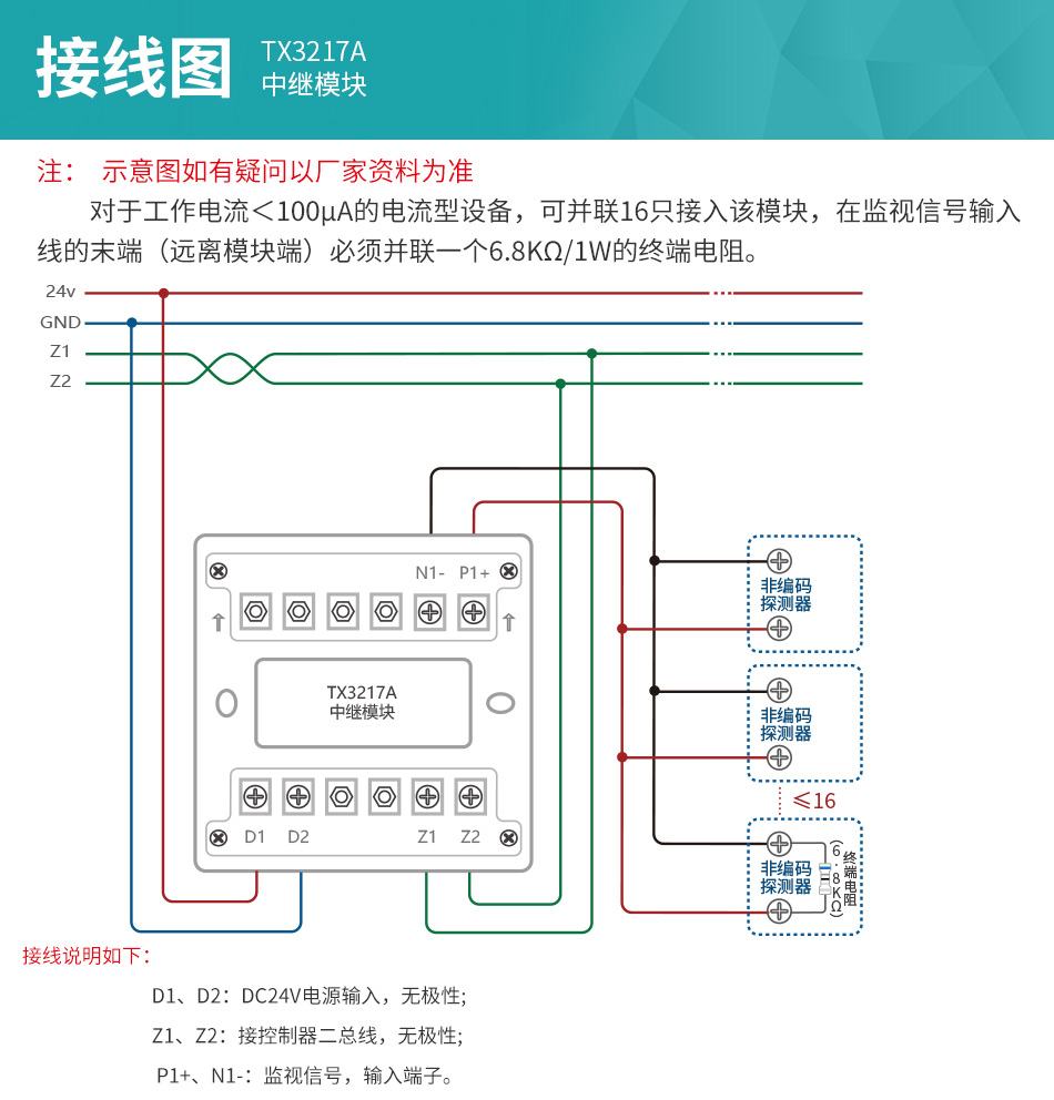 TX3217A中继模块安装接线