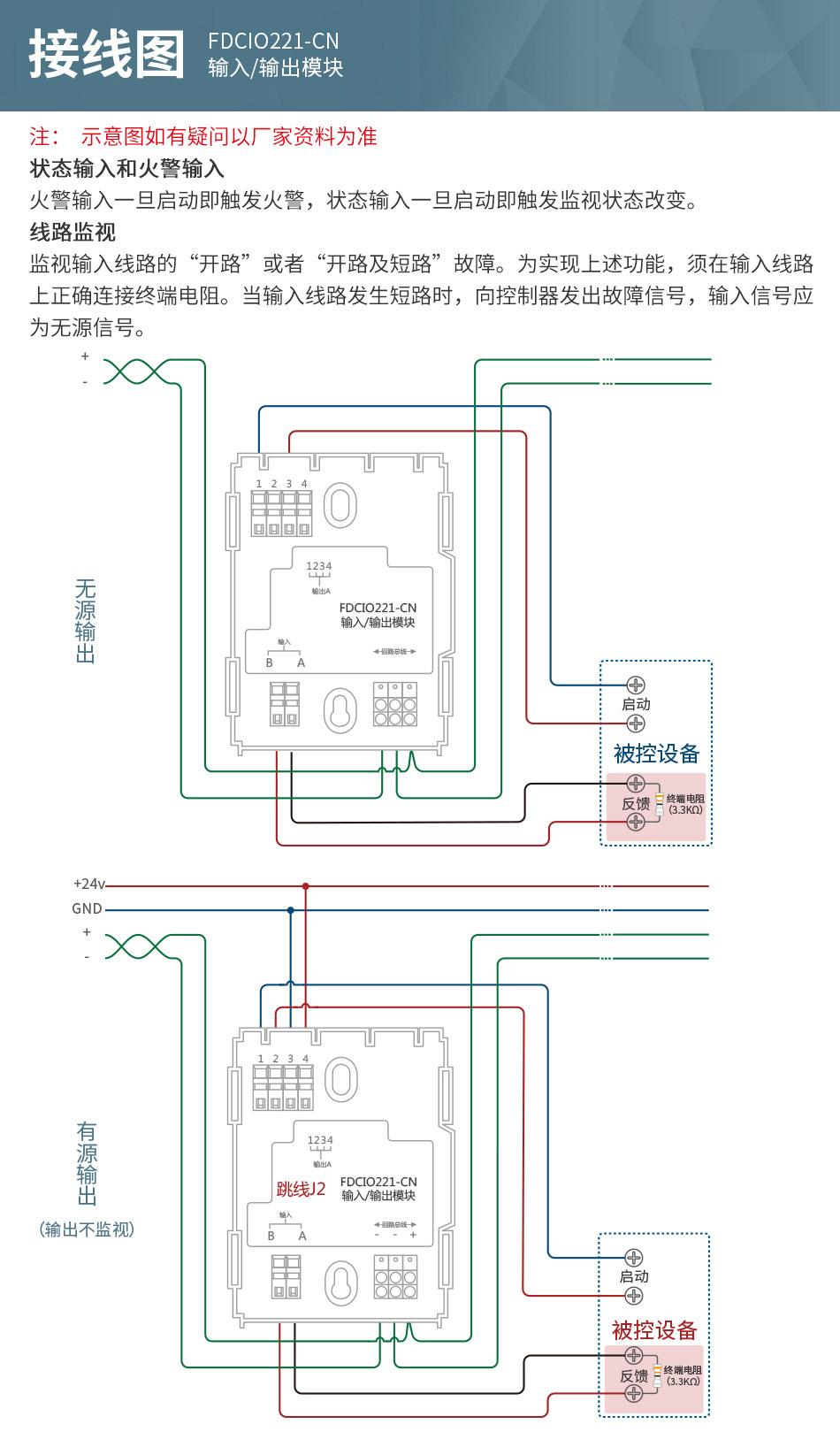 •提供一个无源干节点输入和一路继电器输出,可监视输入