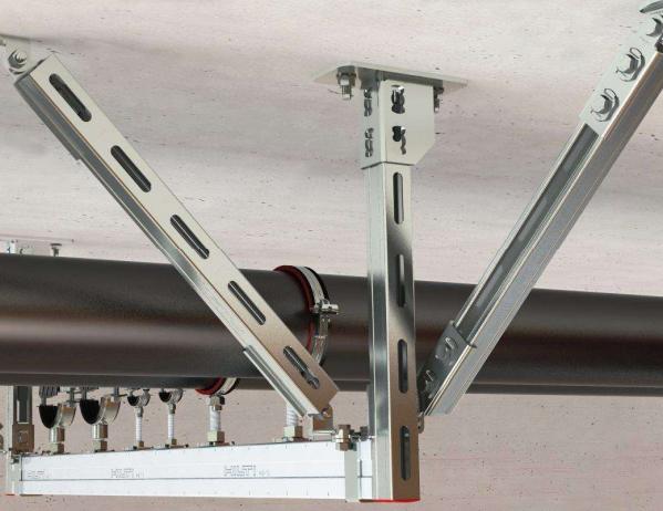 抗震支架现场多管组合安装图片