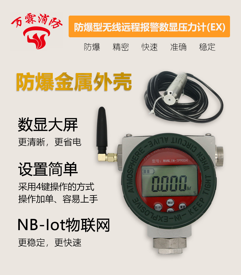 WANLIN-TP9004防爆型无线远程报警数显压力计产品展示