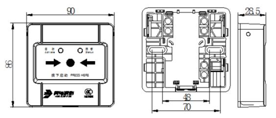 JBF4123B消火栓按钮外观尺寸