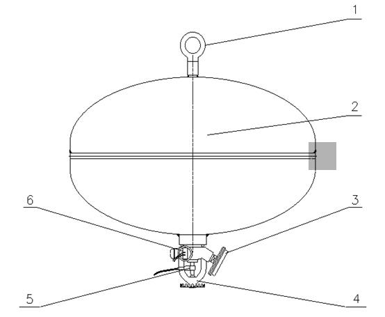 贮压悬挂式超细干粉灭火装置结构图