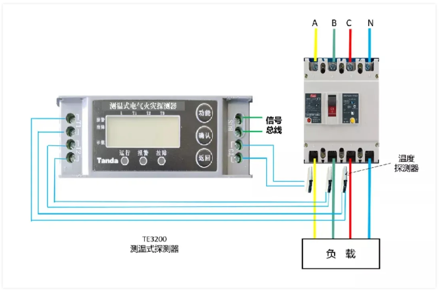 TE3200测温式电气火灾监控探测器接线图